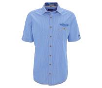 Freizeithemd, Casual Fit, Kent-Kragen, Längsstreifen, Stickerei, Blau