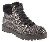 Boots, Strass-Besatz, Profilsohle, Schwarz