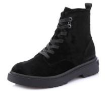 Boots, Samt, Schnürsenkel, breite Sohle, Schwarz