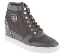 Sneaker, Leder-Mix, Nieten-Verzierung, Embleme, Keilabsatz, Grau