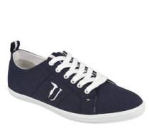 Sneaker, Leinen-Look, Stickerei, Lasche