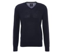 Pullover, uni, V-Ausschnitt, Wollmischung, Blau