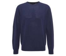 Pullover, uni, Rundhalsausschnitt, Wolle, Blau