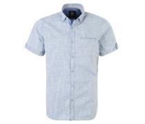 Freizeithemd, kurzarm, Punkte-Muster, Blau