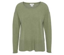 Pullover, uni, Rippbündchen, offene Seiten, Kaschmir, Grün