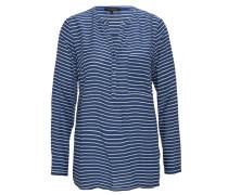 Bluse, Streifen, langarm, Brusttasche, Blau