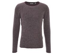 Pullover, Feinstrick, leichte Struktur, Streifen, Rot