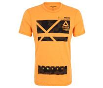 T-Shirt, Print, Melange-Optik, für Herren, Orange