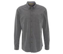 Freizeithemd, Regular Fit, leicht gemustert, Brusttasche, Schwarz