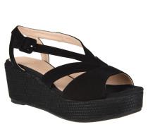 "Sandaletten ""Kenya"", Leder, Keilabsatz, Plateausohle, Schwarz"
