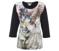 Shirt, 3/4 Arm, florales Design, Strass, Baumwollmix, Mehrfarbig