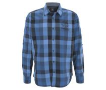 Freizeithemd, kariert, Kent-Kragen, Ärmelschlaufen, Baumwolle, Blau