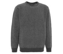 Pullover, Wolle, geometrische Musterung, Rundhals, Blau