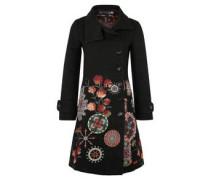 Mantel, florales Muster, Umlegekragen