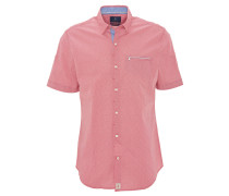 Freizeithemd, Modern Fit, Kurzarm, fein gemustert, Rot