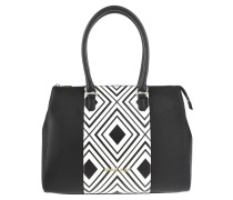 Handtasche, Rauten-Muster, Marken-Emblem, Schwarz