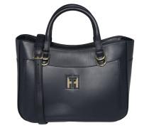 Handtasche, Leder, optionaler Schultergurt, Blau