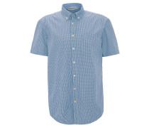 Freizeithemd, kariert, Button-Down-Kragen, Brusttasche, Blau
