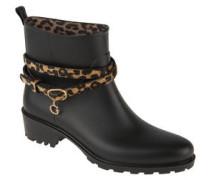Boots, Riemen im Leoparden-Print, Gummi, Blockabsatz