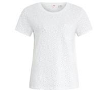 """T-Shirt """"Perfect Pocket"""", Baumwolle, Punkte, Brusttasche, Weiß"""