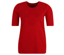Shirt, 3/4 Ärmel, Strasssteine, Print, Rot