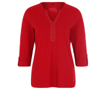 Shirt, Blende mit Nietenbesatz, Ärmelsäume mit Aufschlag, Rot