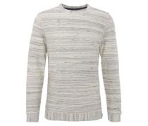 Sweatshirt, meliert, Struktur-Muster, Weiß