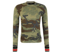 Pullover, Strick, Mohair-Optik, Camouflage-Muster, Mehrfarbig