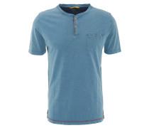 T-Shirt, uni, Brusttasche, Henley-Ausschnitt, Baumwolle, Blau