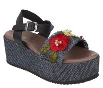 Sandaletten, Plateausohle, Blumen-Stickerei