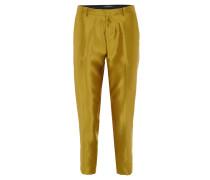 Stoffhose, Slim Fit, 7/8-Länge, glänzend, Bügelfalten, Gold