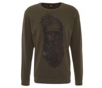 "Sweatshirt ""Jebi"", meliert, Front-Print, Rippbund, Baumwoll-Mix, Grün"