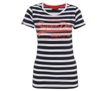 T-Shirt, Baumwolle, Streifen, Logo-Print