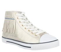 Sneaker, Metallic-Look, Fransen, Lyralochung, Gold