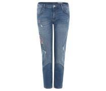 Jeans, Slim Fit, Stickerei, Ripped-Optik, Stretch, Blau