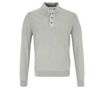 Pullover, Strick, halbe Knopfleiste, Stehkragen, Grau
