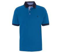 Poloshirt, Logo-Stickerei, einfarbig, Blau