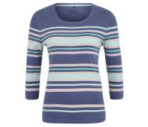 Shirt, 3/4-Arm, Streifenmuster, Baumwolle, Blau