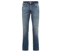 "Jeans ""Greensboro"", Regular Straight Fit, Logo-Patch, Blau"
