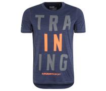T-Shirt, atmungsaktiv, Melange, für Herren, Blau