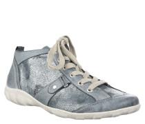 Sneaker, Used Look, schimmerndes Obermaterial, Schnürung, Blau