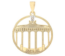 Brandenburger Tor Anhänger, Diamant, Gold 375