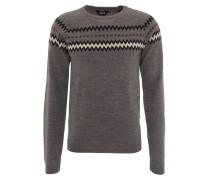 "Pullover ""Kassy"", Zickzack-Muster, Woll-Anteil, Grau"