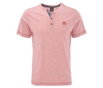 T-Shirt, Henley-Kragen, meliert, Rot