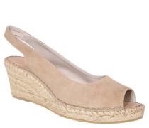 Sandalette, Keilabsatz, Ledermaterial, Braun