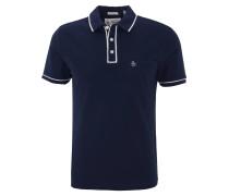 Poloshirt, zweifarbiges Design, Brusttasche, Blau