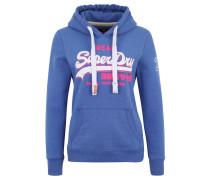 Sweatshirt, Kapuze, Logo-Print, Kängurutasche, Blau