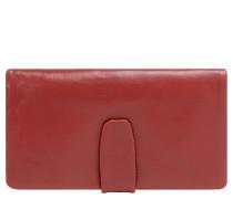 Geldbörse, langformat, Leder-Optik, Umschlag, Rot