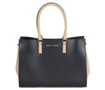 Handtasche, dreifarbig, Struktur-Mix, Schwarz