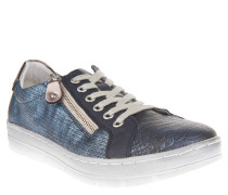 Sneaker, Reptil-Optik, Fersenbesatz, dicke Sohle, Schnürung, Blau